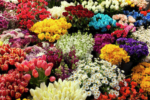 Flower Photograph - Farmers Market Fresh Bouquets Of by Ferhatmatt