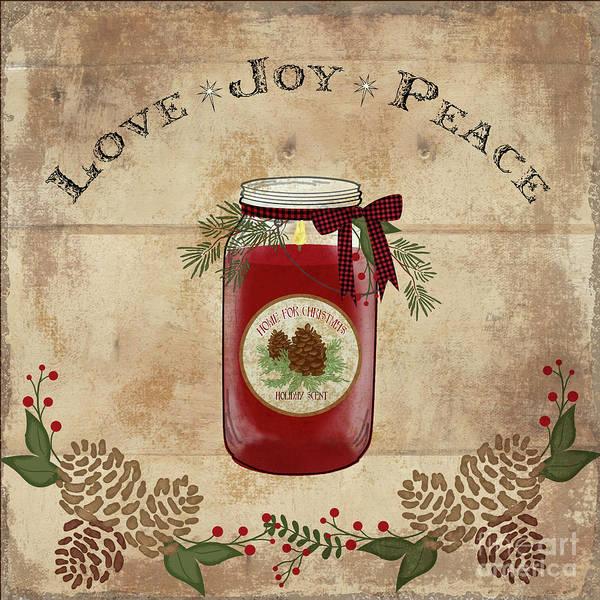 Wall Art - Painting - Farmhouse Christmas Lodge Love Joy Peace by Audrey Jeanne Roberts
