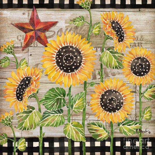 Wall Art - Painting - Farmhouse Sunflowers by Paul Brent