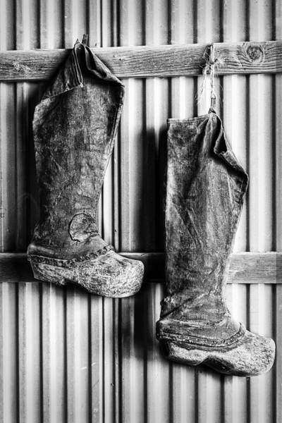 Photograph - Farming Boots Bw by Susan Candelario