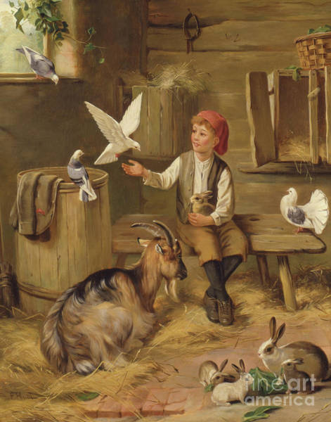 Wall Art - Painting - Farmyard Friends by F Hunt