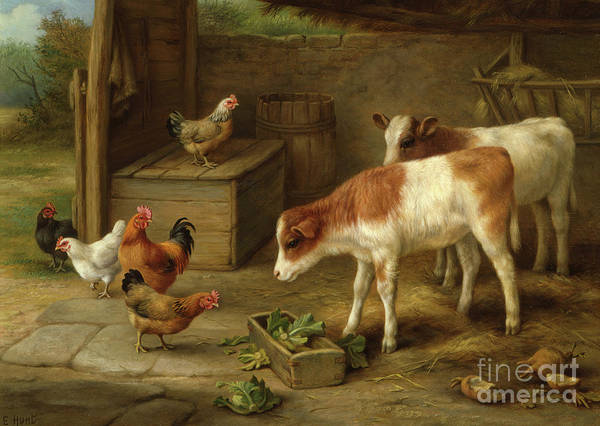 Trough Wall Art - Painting - Farmyard Scene by Walter Hunt