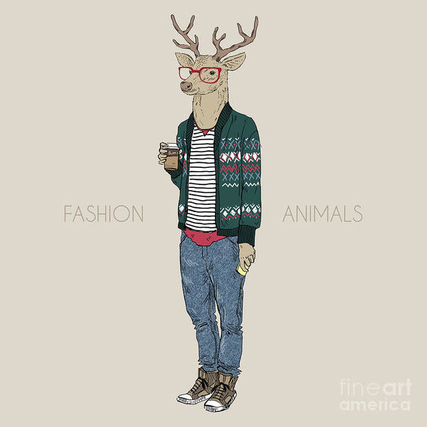Young Man Wall Art - Digital Art - Fashion Animal Illustration, Deer by Olga angelloz
