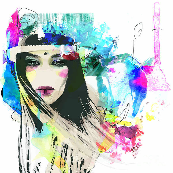 Wall Art - Digital Art - Fashion Illustration With A Face And by Alisa Franz