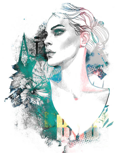 Wall Art - Digital Art - Fashion Illustration With A Freehand by Alisa Franz