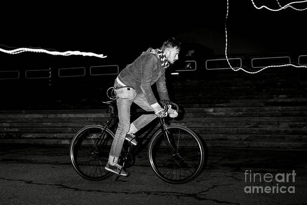 Young Man Wall Art - Photograph - Fashion Man On The Fixed Gear Bike by Hrynevich Yury