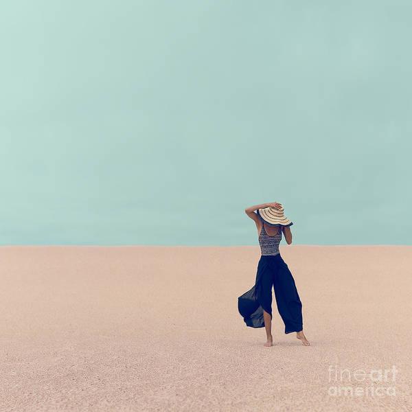 Sunbathing Wall Art - Photograph - Fashion Model In The Desert On Vacation by Evgeniya Porechenskaya