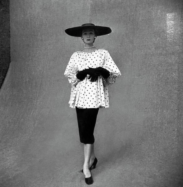 Apron Photograph - Fashion Model Showing Polka Dotted by Gordon Parks