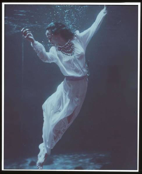 Painting -  Fashion Model Underwater In Dolphin Tank Marineland  Florida   Frissell  Toni  1907 1988  Photogr by Celestial Images