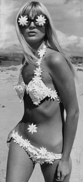 Bikini Photograph - Fashion Model Wearing Daisy Bikini by New York Daily News Archive