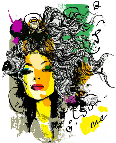 Wall Art - Digital Art - Fashion Print Sketch With A Model by Alisa Franz
