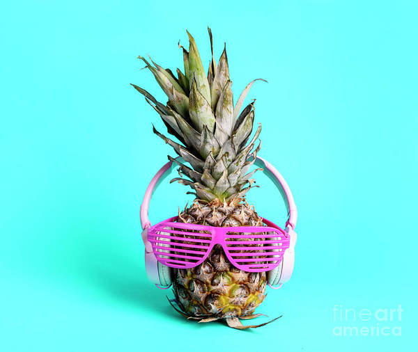 Wall Art - Photograph - Fashionable  Trendy Pineapple Fruit With Headphones And Sun Glas by Jelena Jovanovic