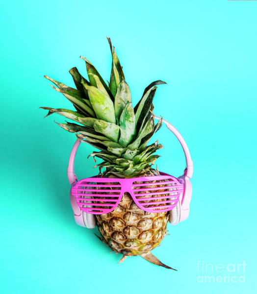 Neon Photograph - Fashionable Trendy Pineapple Fruit With Headphones And Sun Glass by Jelena Jovanovic