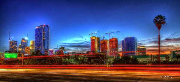 Photograph - Fast And Furious Sunset L A Traffic Lights Panorama Los Angeles California Art by Reid Callaway