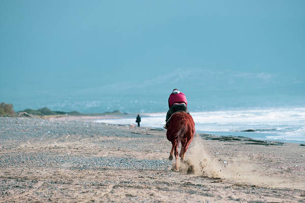 Photograph - Fast Horse Riding On Ayia Erini Beach by Iordanis Pallikaras