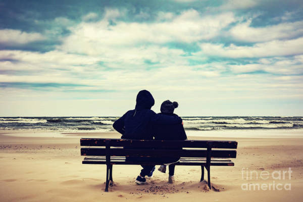 Wall Art - Photograph - Father And Daughter Sitting On A Bench On The Beach by Michal Bednarek