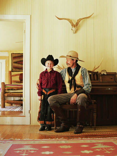Single Parent Wall Art - Photograph - Father And Son 7-9 Wearing Cowboy by David Sacks