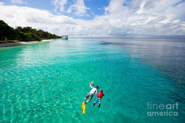 Caucasian Wall Art - Photograph - Father And Son Snorkeling In A Tropical by Blueorange Studio