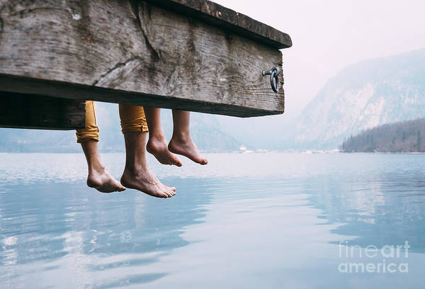 Father And Son Swung Their Legs From Art Print