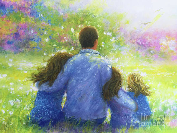 Wall Art - Painting - Father And Three Daughters In The Garden by Vickie Wade