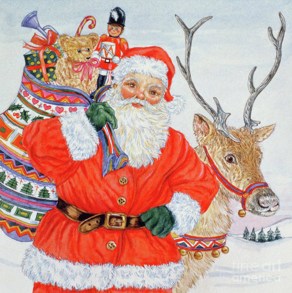 Delivering Painting - Father Christmas And His Reindeer  by Catherine Bradbury