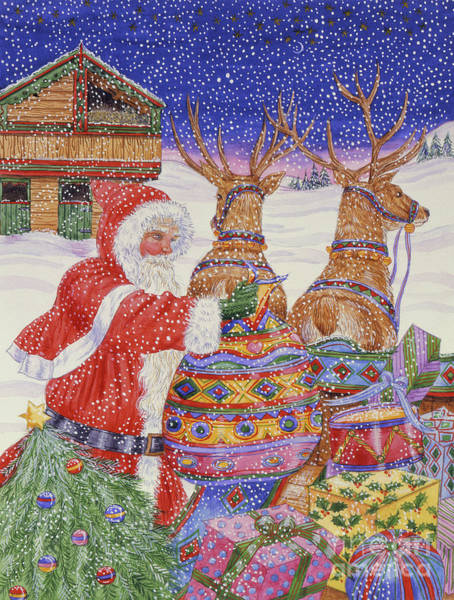 Father Sky Wall Art - Painting - Father Christmas Loading His Sleigh  by Catherine Bradbury