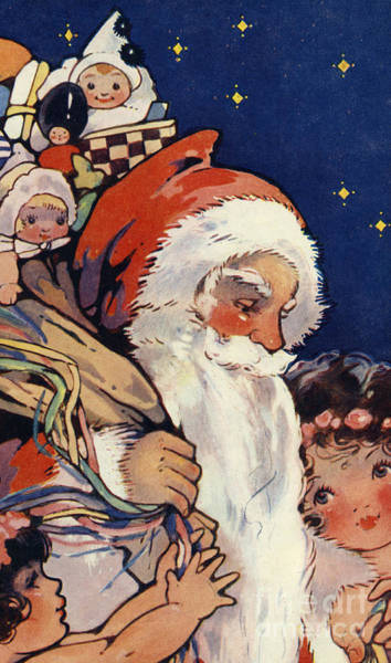 Delivering Painting - Father Christmas With Sack Of Toys For Children by English School