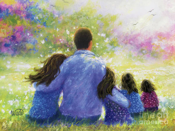 Wall Art - Painting - Father Four Daughters In Garden by Vickie Wade