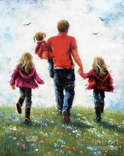 Wall Art - Painting - Father Three Daughters Walking by Vickie Wade