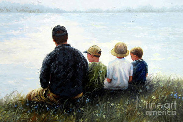 Wall Art - Painting - Father Three Sons By Lake by Vickie Wade