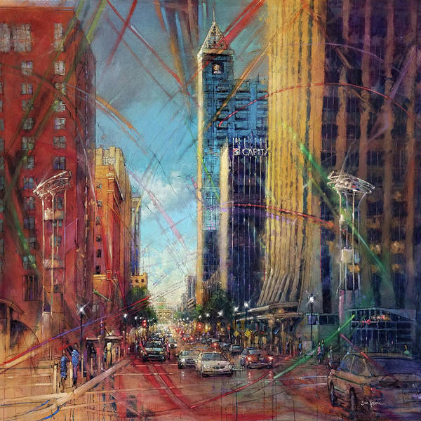 Wall Art - Painting - Fayetteville Street Presence - North by Dan Nelson