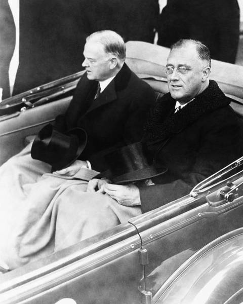 Wall Art - Photograph - Fdr And Herbert Hoover - Inauguration Day 1933 by War Is Hell Store