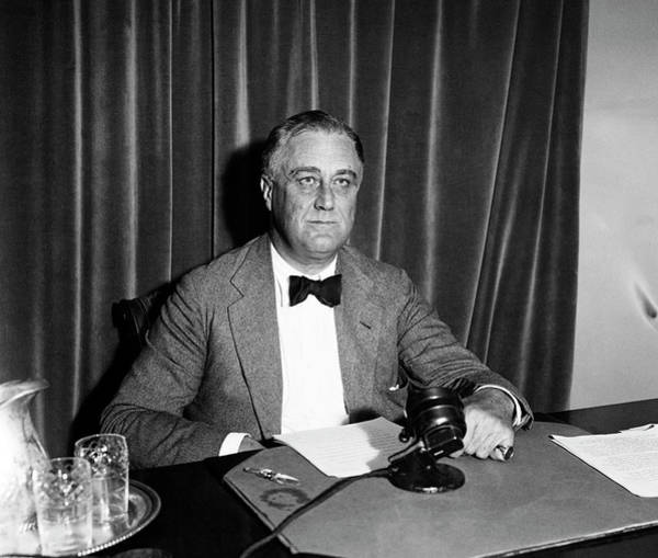 Wall Art - Photograph - Fdr Before A Radio Address - Great Depression - 1934 by War Is Hell Store
