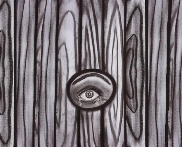 Drawing - Fear - Eye Through Fence by Joan Stratton