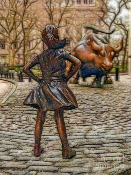 Photograph - Fearless Girl And Wall Street Bull Statue by Doc Braham