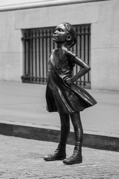 Wall Art - Photograph - Fearless Girl Statue At The Nyse Building, Black And White by Iveta L