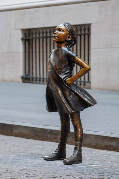 Wall Art - Photograph - Fearless Girl Statue At The Nyse Building by Iveta L