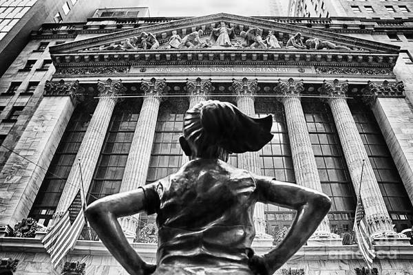 Fearless Photograph - Fearless Girl Statue In Front Of New York Stock Exchange Bw 11 by Nishanth Gopinathan
