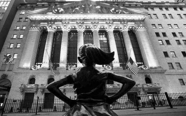 Photograph - Fearless Girl Statue In Front Of New York Stock Exchange by Doc Braham