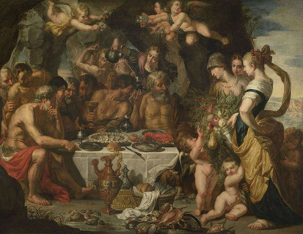Painting - Feast Of The Gods In A Cave Near The Sea Shore by Gerard Seghers