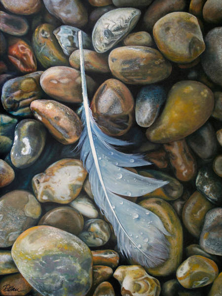Clovis Painting - Feather And Rocks by Clovis Rusk