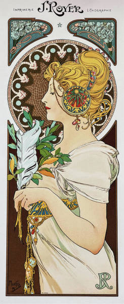 Alfons Mucha Painting - Feather - Digital Remastered Edition by Alfons Maria Mucha