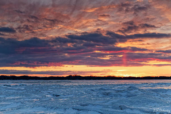 Great Lakes Region Wall Art - Photograph - February Sunset Over Erie by Phill Doherty