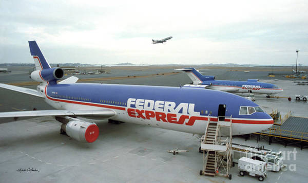 Wall Art - Photograph - Federal Express Dc10 And 727 In Bos 1985 by Michelle Constantine