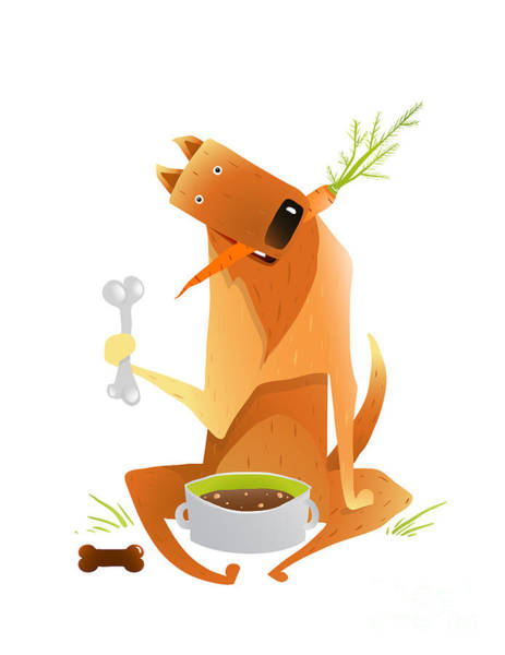 Wall Art - Digital Art - Feeding Happy Red Dog Healthy Balanced by Popmarleo