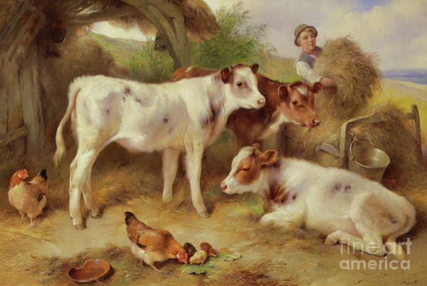 Wall Art - Painting - Feeding The Calves, 1931 by Walter Hunt