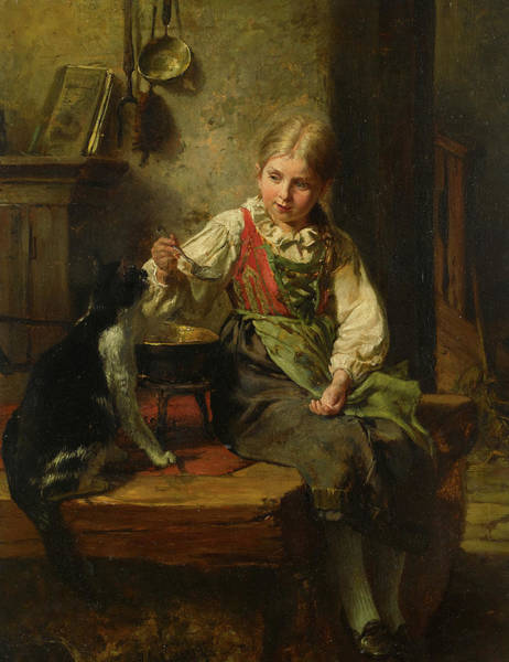 Wall Art - Painting - Feeding The Cat by Felix Schlesinger