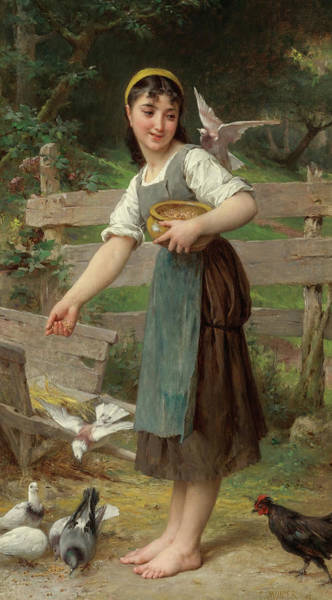 Wall Art - Painting - Feeding The Doves, 19th Century by Emile Munier