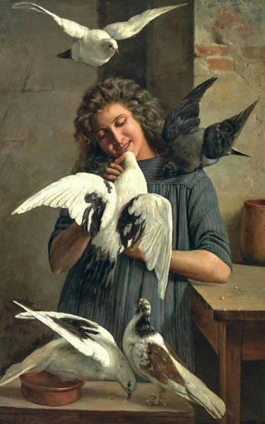 Wall Art - Painting - Feeding The Doves by Claudio Rinaldi