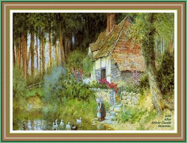 New Trend Digital Art - Feeding The Ducks - After The Original Painting By Arthur Claude Strachan L A S - With Printed Frame by Gert J Rheeders